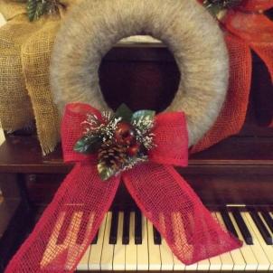 Sheep Wool Wreath with Winter decor