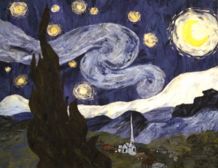 "A 100% wool rendition of Vincent Van Gogh's ""The Starry Night."""